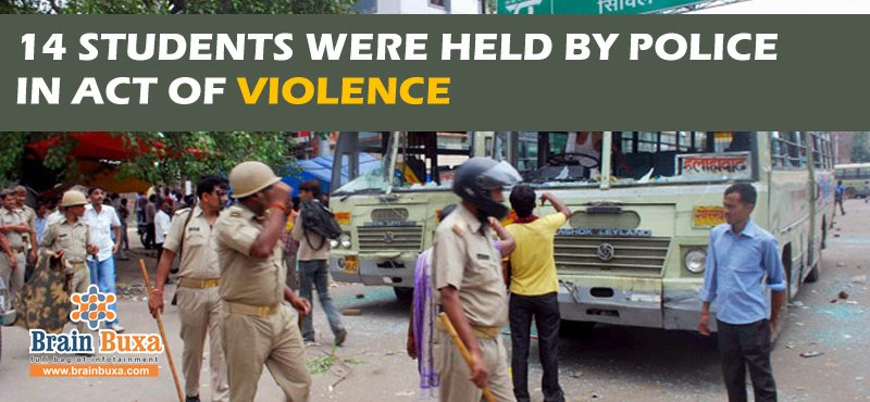 14 students were held by police in act of violence