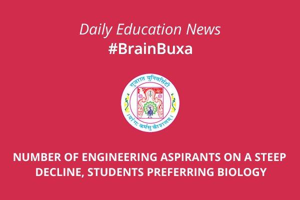 Number of engineering aspirants on a steep decline, students preferring Biology