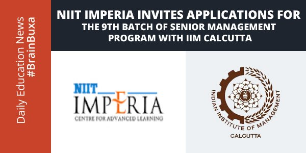Image of NIIT Imperia invites applications for the 9th Batch of Senior Management Program with IIM Calcutta | Education News Photo