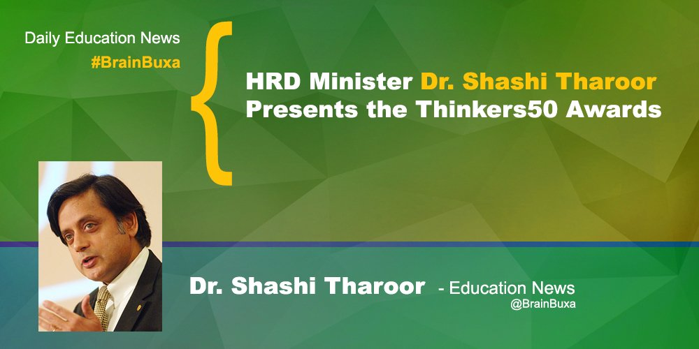 Image of HRD Minister Dr. Shashi Tharoor Presents the Thinkers50 Awards | Education News Photo