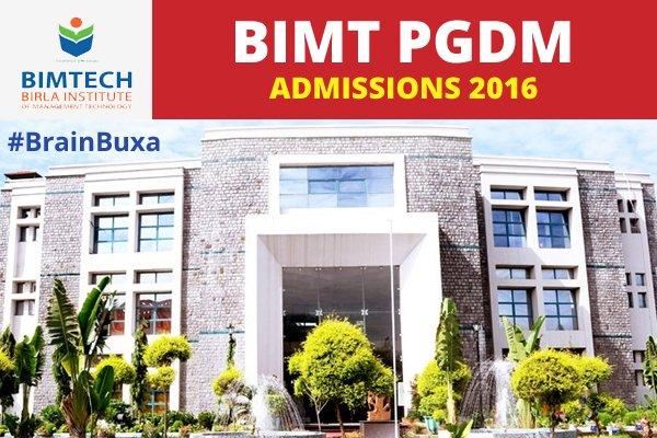 BIMT PGDM admissions 2016