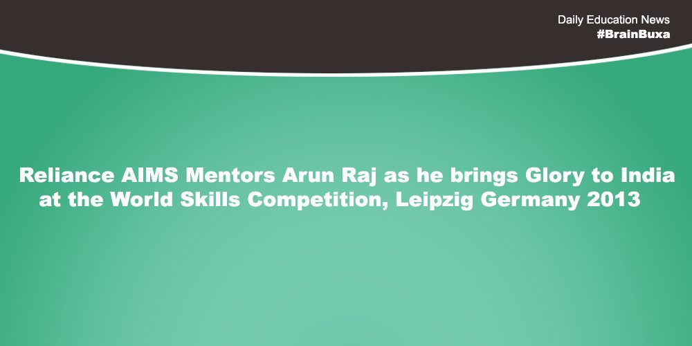 Image of  Reliance AIMS Mentors Arun Raj as he brings Glory to India at the World Skills Competition, Leipzig Germany 2013 | Education News Photo