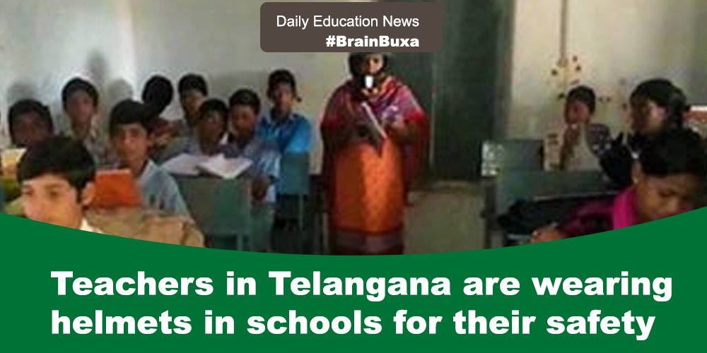 Image of Teachers in Telangana are wearing helmets in schools for their safety   Education News Photo