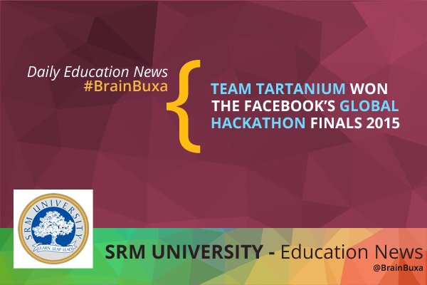 Image of Team Tartanium won the Facebook's global Hackathon finals 2015 | Education News Photo