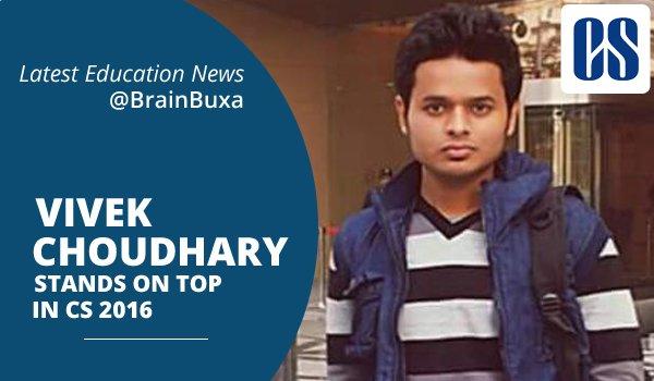Vivek choudhary stands on top in CS 2016